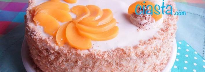 brzoskwiniowy tort jogurtowy na owsianym biszkopcie