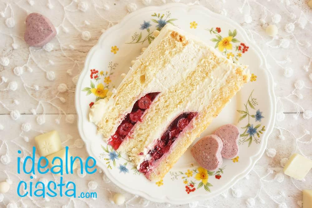 tort kokosowo malinowy z biala czekolada