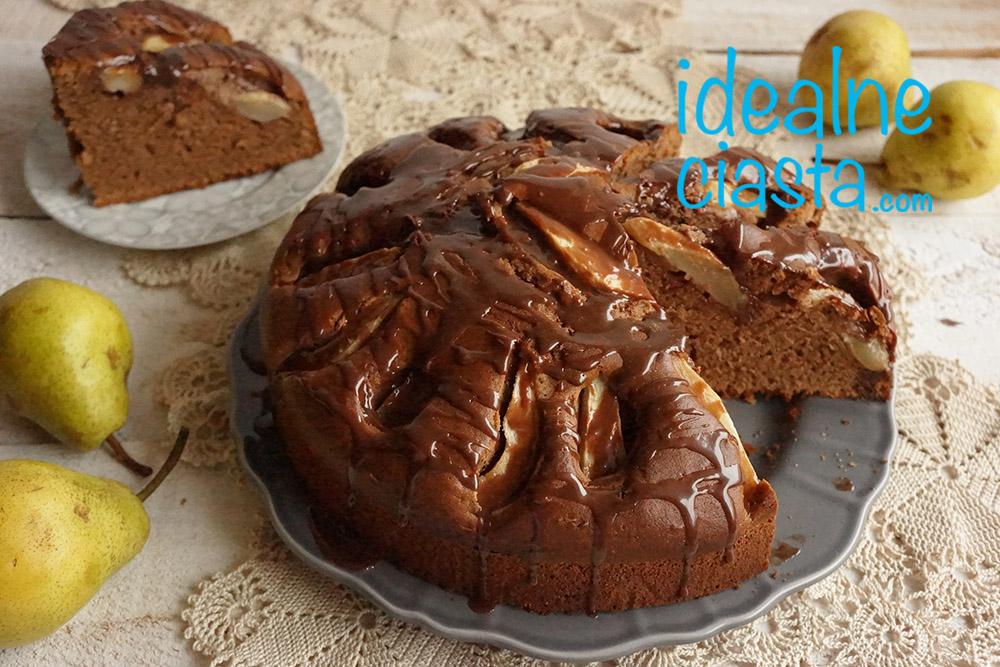 ciasto z gruszkami i czekolada