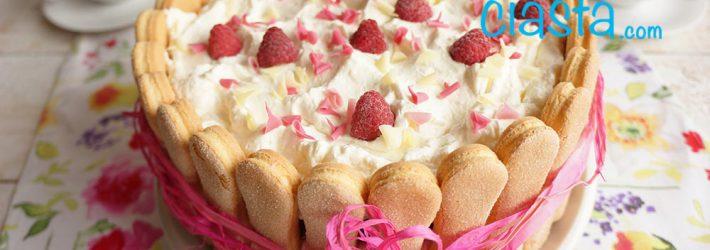 latwy tort sernikowy z malinami - bez pieczenia