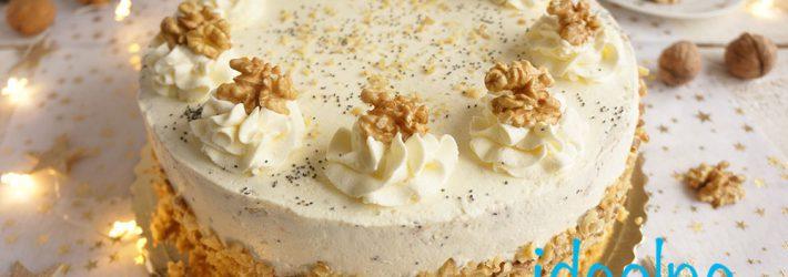 tort makowo-orzechowy z brzoskwiniami
