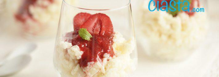 waniliowy ryz na mleku z truskawkami
