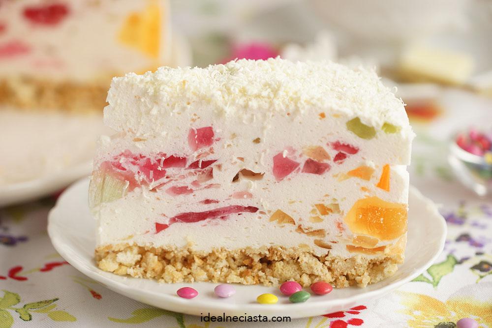 lekkie ciasto. galaretkami na chrupiÄ…cym spodzie