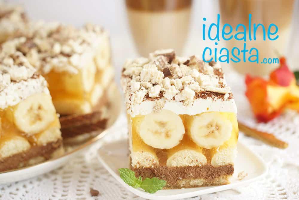 ciasto z bananami i galaretka